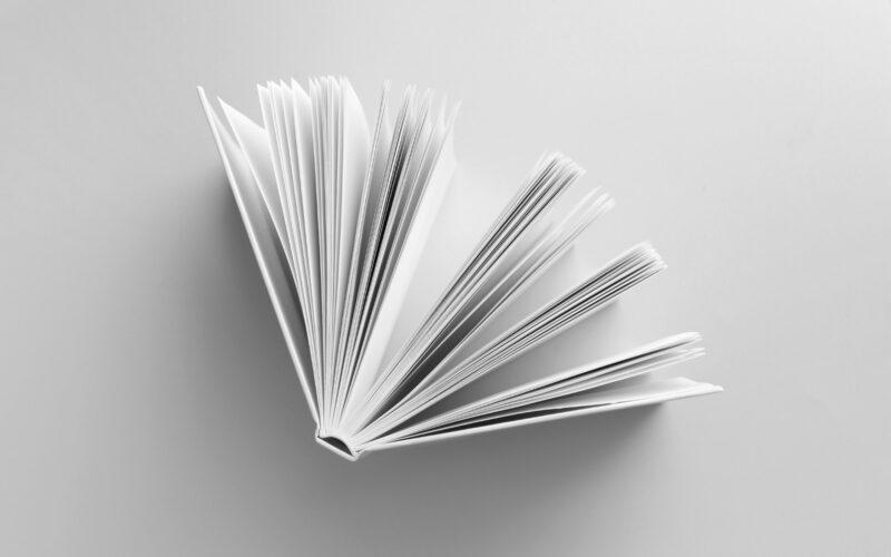 Hvid bog på hvid baggrund