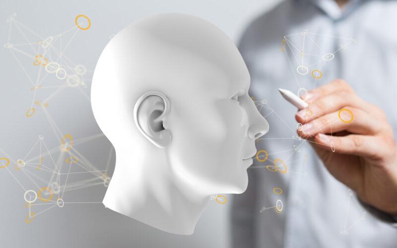 Konceptfoto med hvid 3D-rendering af ansigt